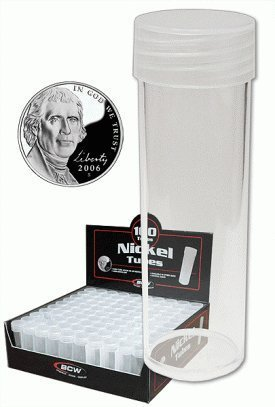 Nickle Coin - COIN STORAGE TUBES, round clear plastic w/ screw on tops for NICKELS (Quantity of 5 tubes)