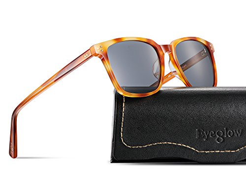 EyeGlow Vintage Square Designer Sunglasses Men and Women Polarized Lens S6801 (Blonde vs Grey Lens, Polarized lens as - Vintage Square Sunglasses