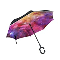 My Daily Double Layer Inverted Umbrella Cars Reverse Umbrella Colorful Galaxy And Nebula Windproof UV Proof Travel Outdoor Umbrella