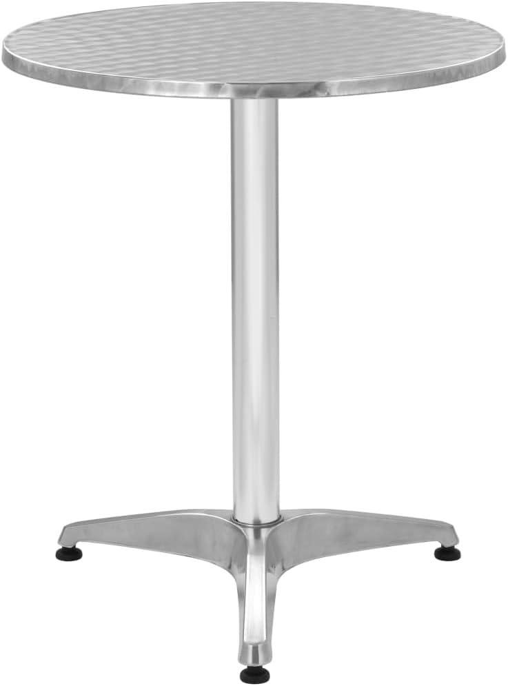 vidaXL Table de Jardin Table de Patio Table de Balcon Table de Bar Table de Bistro Table de Restaurant Table dExt/érieur Argent/é 60x70 cm Aluminium