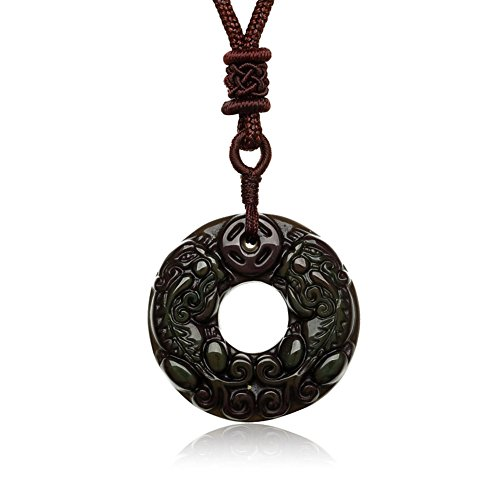 Embellishment Crystal jewelry donut/necklack/Obsidian pendant/Jade pendants/Christmas couples pendant-A