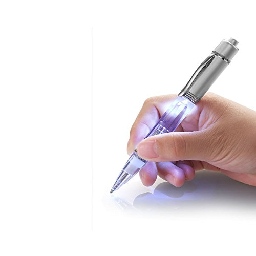 Glowseen LED Light Pen Light up Pen Light for Night Writer with Extra Refills (White)