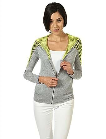 Beach Bunny Women's Mesh Contrast Zipper Hoody XS Grey / Lime Green