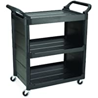Rubbermaid Polyethylene Service Cart with End Panel, 3 Shelves