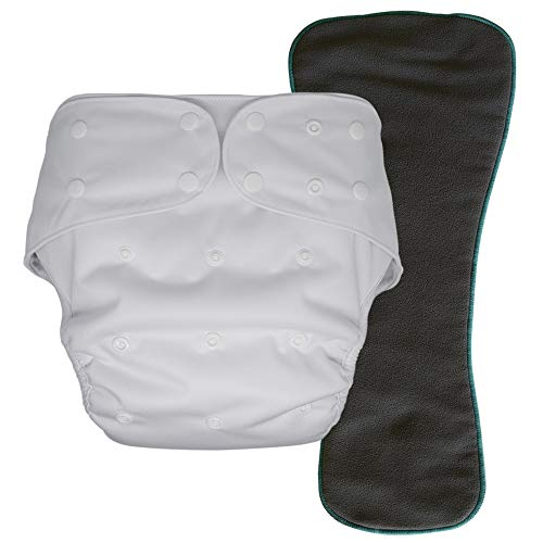 Cloth Diaper Cover with Insert - Reusable Special Needs Incontinence Briefs for Big Kids, Teens and Adults (White, Regular)