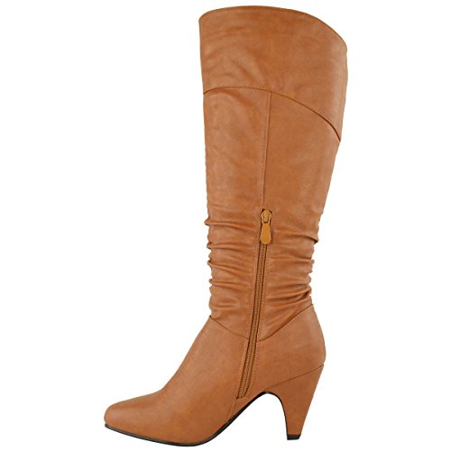 LOW SHOES Tan Faux BLOCK RIDING CHUNKY HEEL WOMENS Leather SIZE HIGH KNEE BOOTS CALF MID LADIES BC5awq6