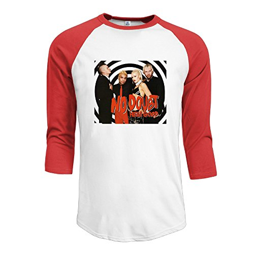 Mens No Doubt 100% Cotton 3/4 Sleeve Athletic Raglan Sleeves T-Shirt Red US Size XXL