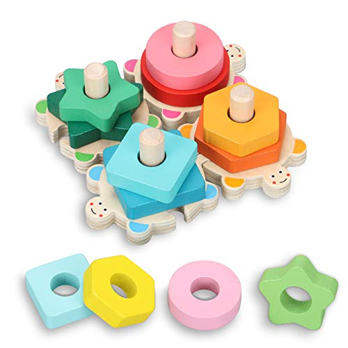 TsingBolo Wooden Stacking Toys for Toddler 3 4 5 Year Old,Preschool Learning Montessori Educational Toys for Toddlers,Shape Color Recognition Block Stack Sort Puzzle Toys for Girls Boys