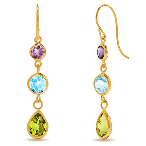 10k Yellow Gold Multi Gemstone Bezel Drop Earrings