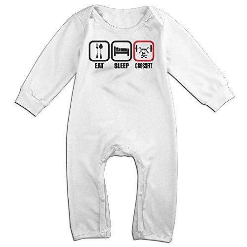 Eat Sleep CrossFit Intense Baby Onesie Bodysuit Newborn Romper White 6 M