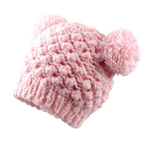 7a5cd4410c73 Cutegogo Baby Winter Warm Crochet Beanie Kids Girls Woolen Earflap Skull Cap  with Ball 6-