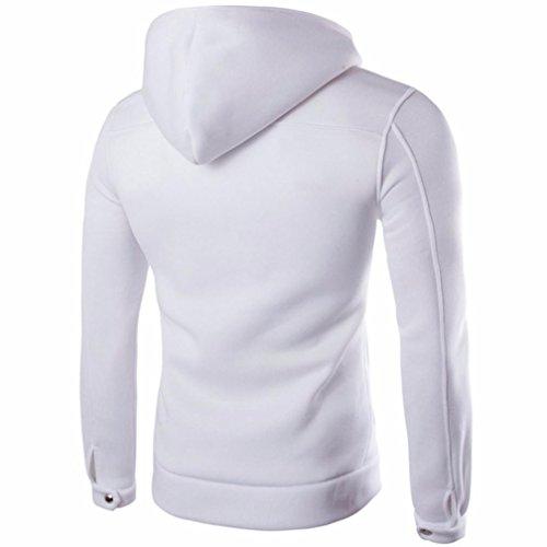 Manga Hombres Larga Outwear Capucha Swearshirt suéter con Abrigo Chaqueta sólido Blanco SHOBDW Sudadera Bolsillo HxpRqddwv