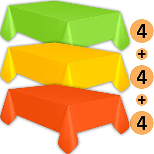 12 Plastic Tablecloths - Lime Green, Sunshine Yellow, Orange - Premium Thickness Disposable Table Cover, 108 x 54 Inch, 4 Each Color -