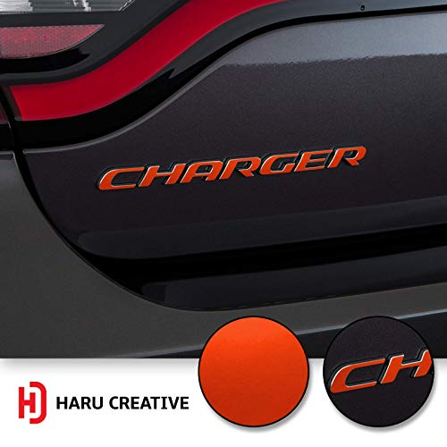 Haru Creative - Rear Bumper Trunk Emblem Overlay Vinyl Car Decal Sticker Compatible with and Fits Dodge Charger 2015 2016 2017 2018 2019 - Metallic Matte Chrome Red ()
