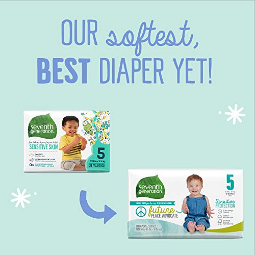 Seventh Generation Baby Diapers, Size 5, 52 Count, Super Pack, for Sensitive Skin