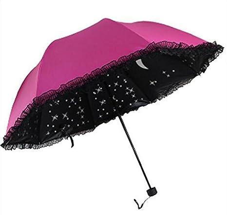 paraguas Paraguas asoleado plegable de la cubierta del paraguas del cordón, paraguas arqueado anti-