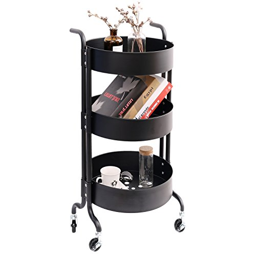 (3-Tier Metal Utility Rolling Cart with Wheels, Round Storage Organizer Tool Cart, Black)
