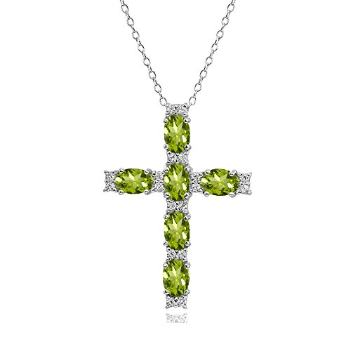 Silver Peridot Cross - Sterling Silver Peridot Oval-Cut Cross Pendant Necklace with White Topaz Accents