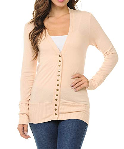 (ClothingAve. Women's Snap Button Sweater Cardigan Ribbed Detail Collection (S-3X) )