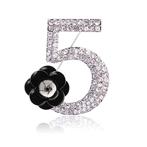 (MISASHA Rhinestone Number Five Pin Brooch with Camellia Flower Charm)