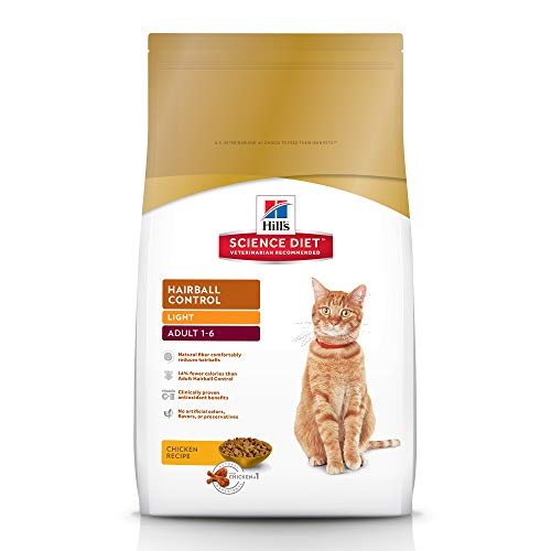 Hill's Science Diet Dry Cat Food, Adult, Hairball Control, Light, Chicken Recipe, 15.5 lb bag