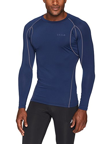 TSLA Men's Long Sleeve T-Shirt Baselayer Cool Dry Compression Top, Athletic(mud11) - Navy, Small