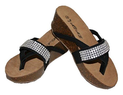 strass 046 avec 37 noir Sandale taille UYxqg