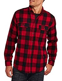 Faded Glory Classic Red and Black Plaid Men's Cotton Flannel Shirt