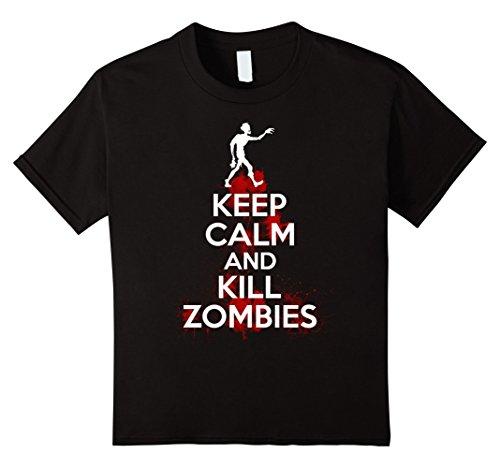 Kids Keep Calm And Kill Zombies - Cool Zombie T-shirt 10 Black