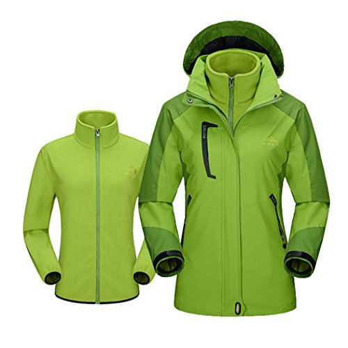 Price comparison product image Modern Fantasy Womens Hooded Convertible Fleec Outdoor Sport Windproof Jacket Size US Green L