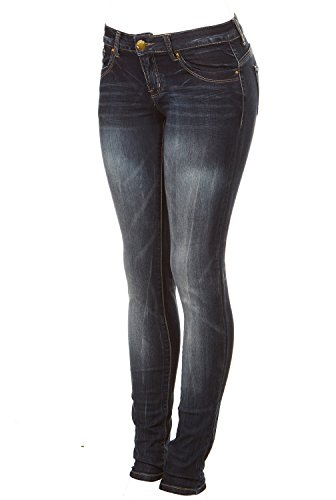 Cover Girl Women's Dark Wash Low Waist Skinny Jeans, Midnight Blue, Junior 17