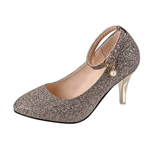 Chaussures De Bretelles Mince Femmes Mode Pompes Bureau Bout Boucle Ggxyjf Cristal Hauts À Élégant Solides Or Noce Toit Talons F5RqxCayw