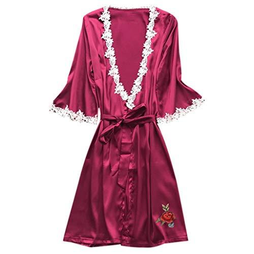 - CCOOfhhc Pajamas for Women Floral Lace V Neck Satin Robe Bridal Dressing Gown Kimono Sleepwear
