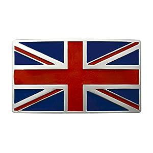 """FL104-UK Men's Union Jack Bristish Flag Brushed Plaque Buckle Fits 1.5"""" Belt"""