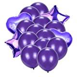 Shuangklei 12Pcs 12 Inch Latex Balloons 2Pcs Star 2Pcs Heart Foil Balloons For Wedding Decoration Birthday Party Decoration Kids Supplies