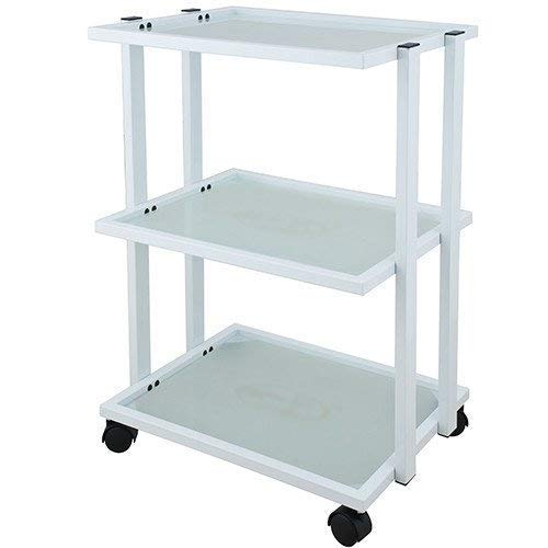 Trolley with Three Tier Glass Tray and Metal Frame for Salon Spa Treatment – USA-1041 – WHITE