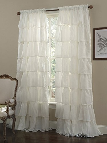 Chezmoi Collection Crushed Voile Sheer Shabby Chic Ruffle Window Curtain Panel (60Wx63L, Cream) (Voile Ruffled)