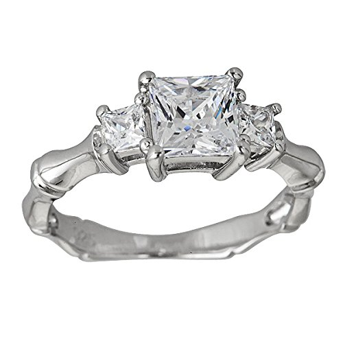 (Decadence Sterling Silver Princess Cut 3 Stone Bamboo Engagement Ring,)