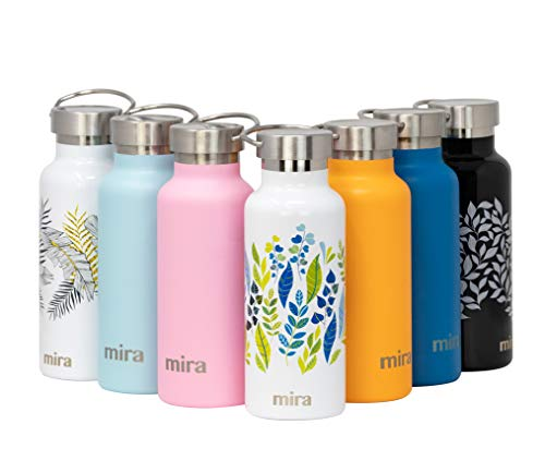 MIRA Insulated Metal Water Bottle   Alpine Stainless Steel Vacuum Insulated Thermos Flask with 2 Lids   Keeps Water Stay Cold for 24 Hours, Hot for 12 Hours   BPA-Free Cap   Spring Leaves   17 oz