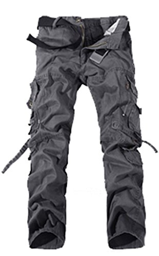 WenVen Men's Cotton Cargo Pants(Grey,36)