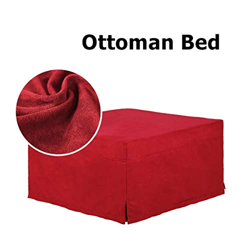 SPACE INNOVATIONS Ottoman Sleeper Guest Bed, 2nd Generation Safe, Comfortable and Durable Updates, Fold-Out Bed Twin, Red