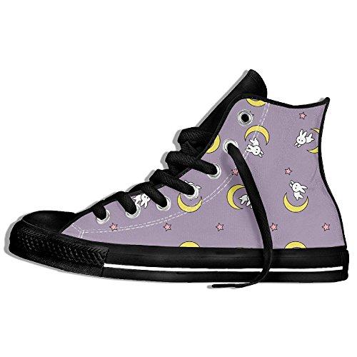 Classiche Sneakers Alte Scarpe Di Tela Anti-scivolo Carino Rubbit Moon Casual Da Passeggio Per Uomo Donna Nero