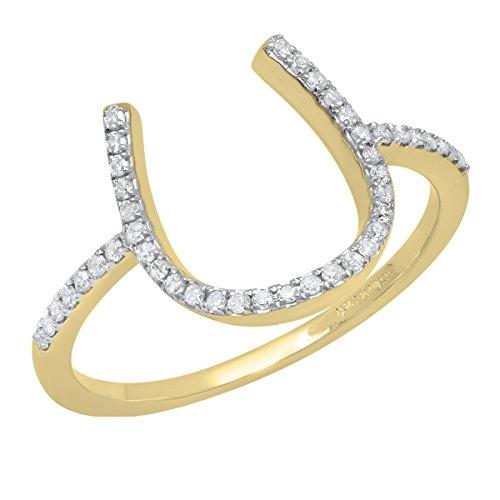Ring Horseshoe Diamond Ladies (0.15 Carat (ctw) 14K Yellow Gold Round White Diamond Ladies Horseshoe Engagement Ring (Size 6))