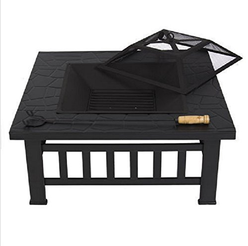 USA Premium Store Outdoor 32'' Metal Firepit Patio Garden Square Stove Fire Pit Brazier Metal