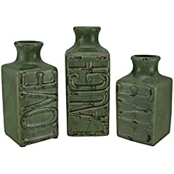 "Mayrich Crackled ""Live Laugh Love"" Vases, Set of 3, Green"