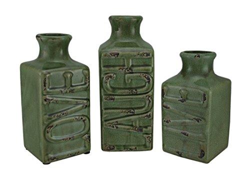 """Mayrich Crackled """"Live Laugh Love"""" Vases, Set of 3, Green"""