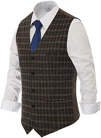 PAUL JONES Men`s British Herringbone Tweed Vest Premium Wool Waistcoat
