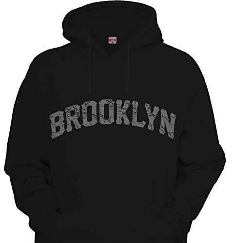 Black New York Hooded Sweatshirt - Brooklyn Cement Print Hoodie Hooded Sweatshirt NY The Bronx New York Retro III 3 Black