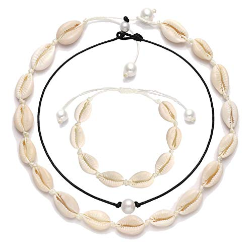 XOCARTIGE Shell Chokers Natural Cowrie Shell Necklace Set for Women (Style A) (Fashionable Shell Beads Necklace)
