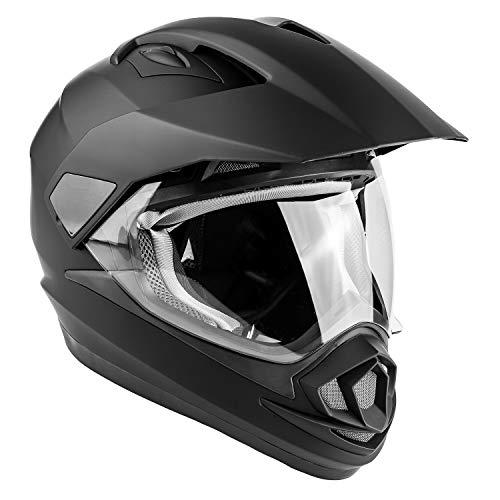 (Typhoon XP14 Full Face Dual Sport Helmet Off Road UTV ATV Motorcycle Enduro - Matte Black - XL)